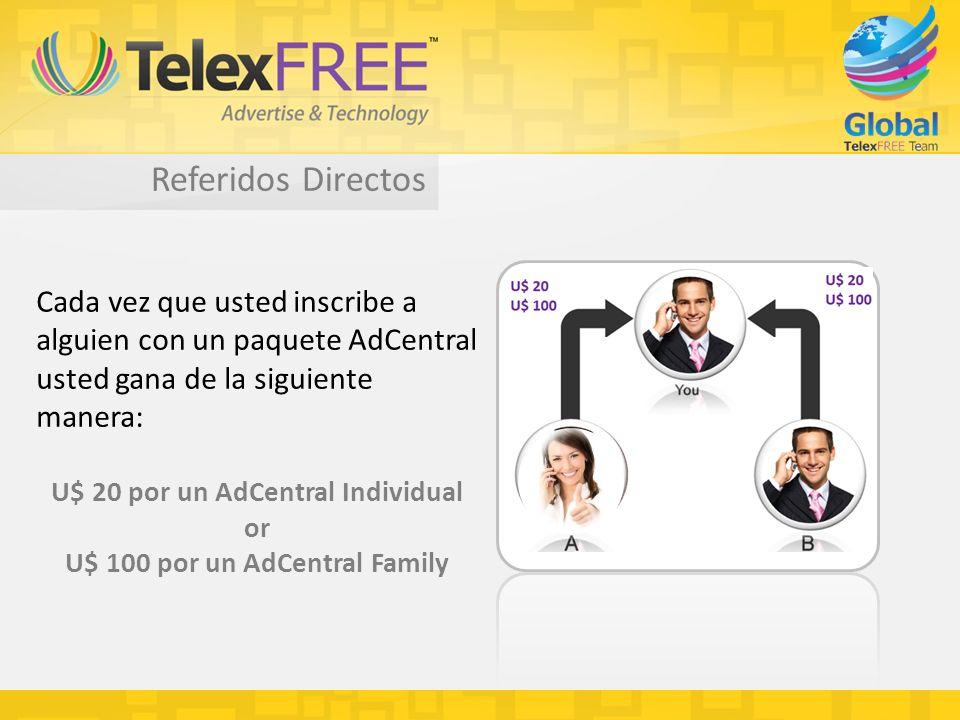 Referidos Directos Cada vez que usted inscribe a alguien con un paquete AdCentral usted gana de la siguiente manera: U$ 20 por un AdCentral Individual or U$ 100 por un AdCentral Family