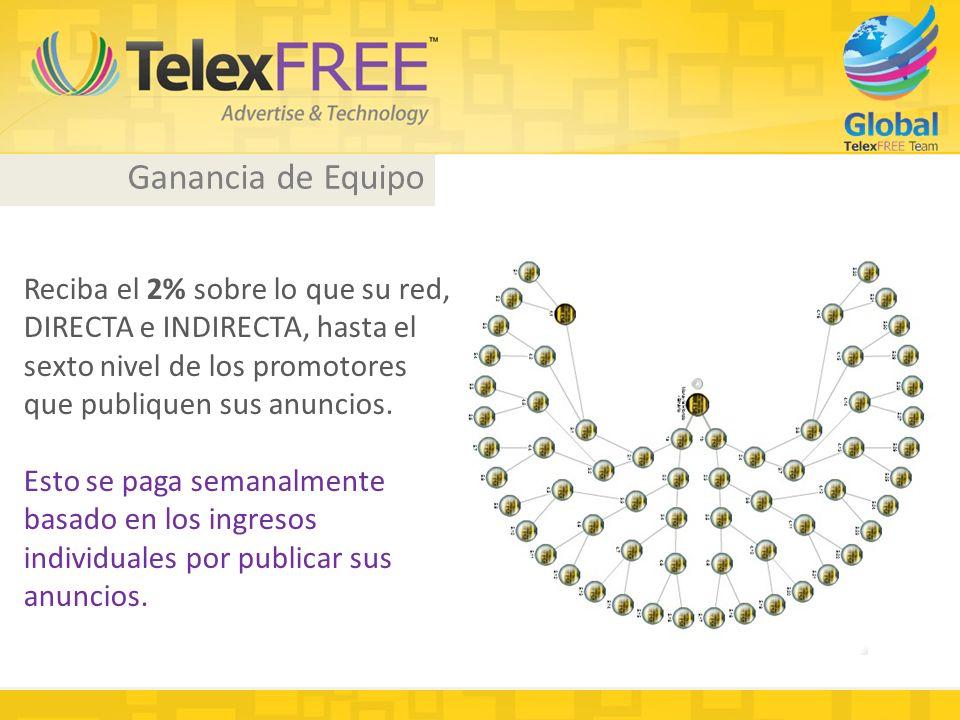 Ganancia de Equipo Reciba el 2% sobre lo que su red, DIRECTA e INDIRECTA, hasta el sexto nivel de los promotores que publiquen sus anuncios.