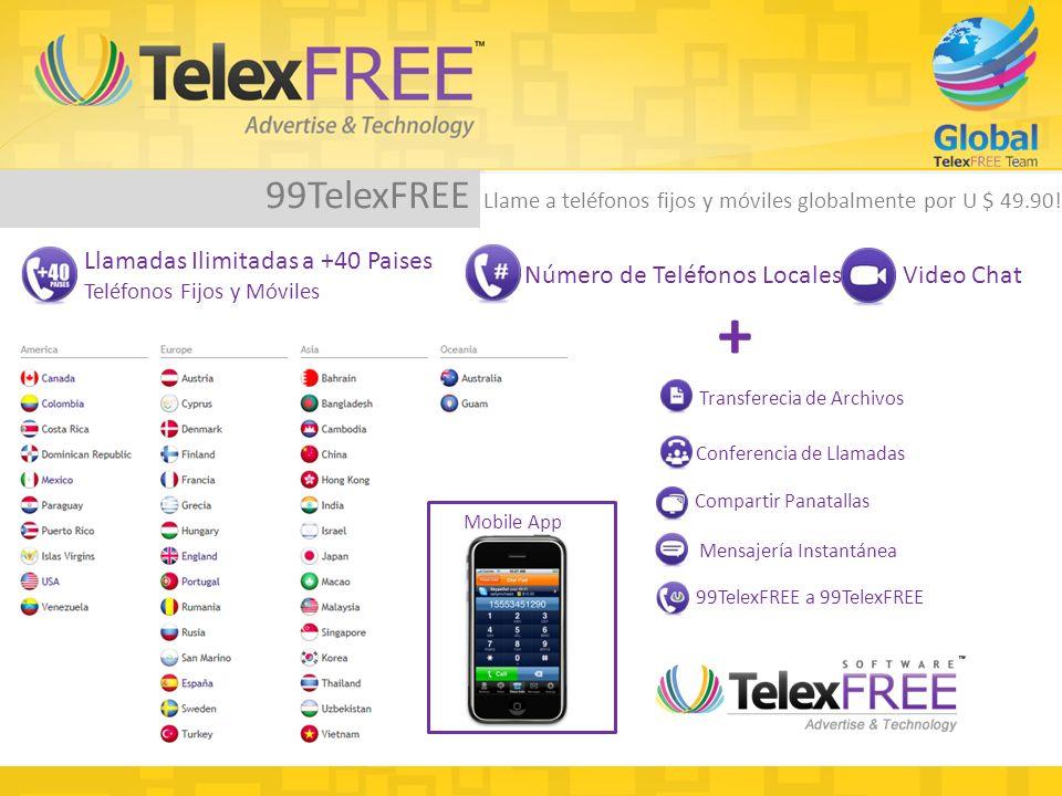 + Compartir Panatallas Transferecia de Archivos Conferencia de Llamadas 99TelexFREE Llame a teléfonos fijos y móviles globalmente por U $ 49.90.