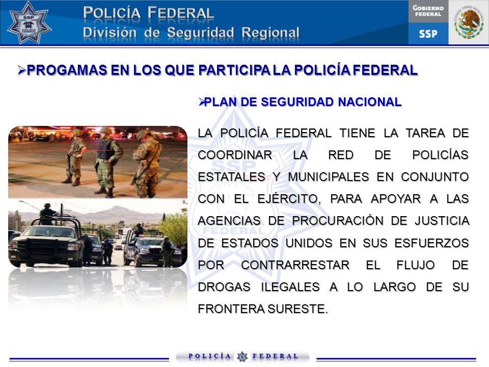PLAN DE SEGURIDAD NACIONAL PLAN DE SEGURIDAD NACIONAL LA POLICÍA FEDERAL TIENE LA TAREA DE COORDINAR LA RED DE POLICÍAS ESTATALES Y MUNICIPALES EN CON
