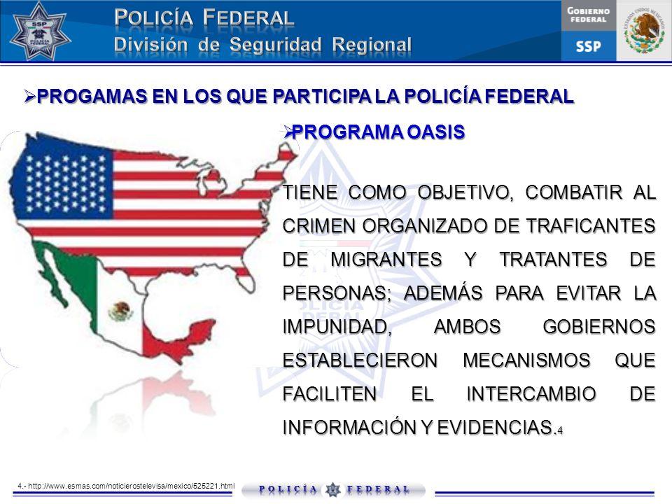PROGRAMA OASIS PROGRAMA OASIS TIENE COMO OBJETIVO, COMBATIR AL CRIMEN ORGANIZADO DE TRAFICANTES DE MIGRANTES Y TRATANTES DE PERSONAS; ADEMÁS PARA EVIT