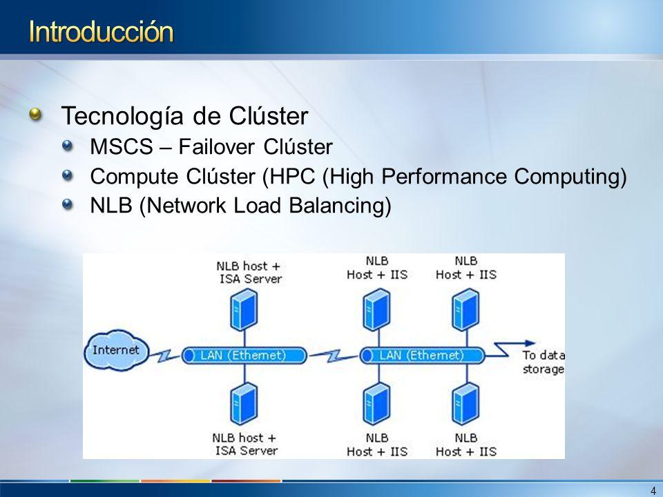 Tecnología de Clúster MSCS – Failover Clúster Compute Clúster (HPC (High Performance Computing) NLB (Network Load Balancing) 4