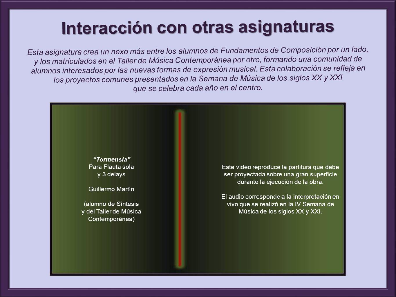 Tormensia Para Flauta sola y 3 delays Guillermo Martín (alumno de Síntesis y del Taller de Música Contemporánea) Este video reproduce la partitura que debe ser proyectada sobre una gran superficie durante la ejecución de la obra.