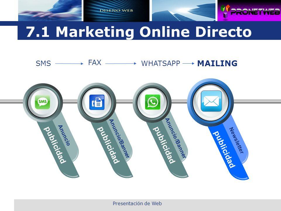L o g o 7.1 Marketing Online Directo publicidad Anuncio publicidad Anuncio/Banner publicidad Anuncio /Banner publicidad Newsletter SMS FAX WHATSAPP MA