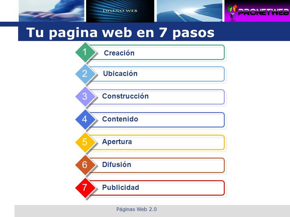 L o g o Páginas Web 2.0 Tu pagina web en 7 pasos Creación 1 Ubicación 2 Construcción 3 Contenido 4 Apertura 5 Difusión 6 Publicidad 7