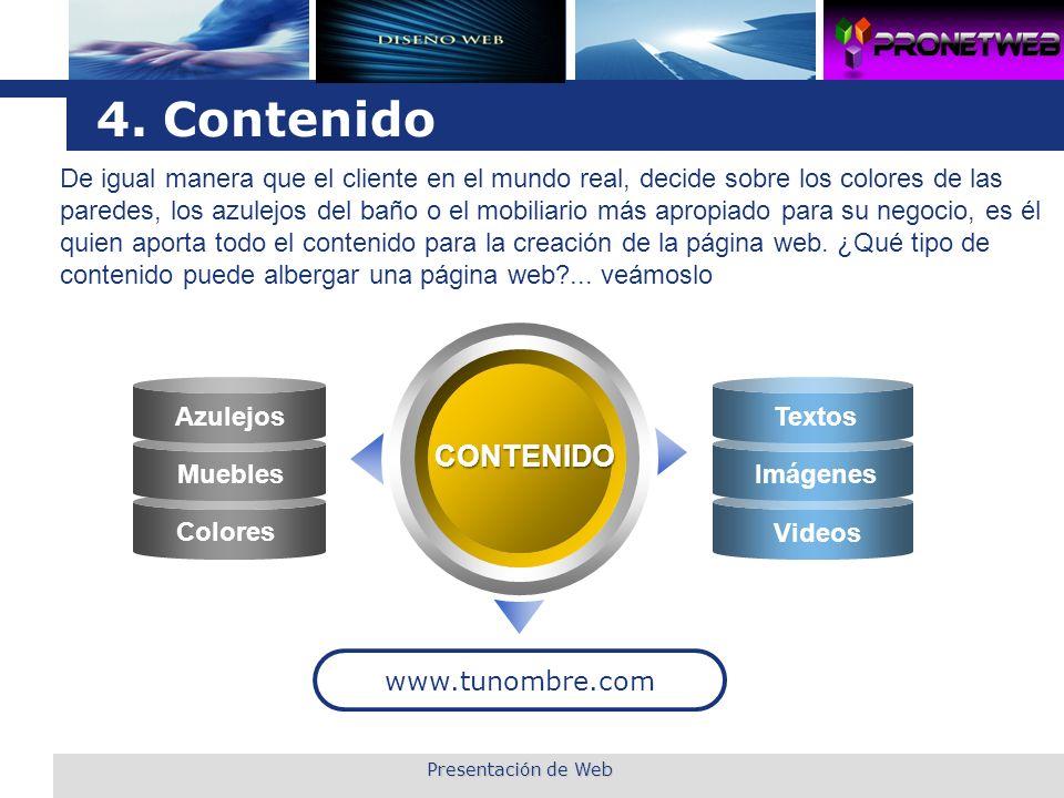 L o g o 4. Contenido CONTENIDO www.tunombre.com Azulejos Muebles Colores Textos Imágenes Videos Presentación de Web De igual manera que el cliente en