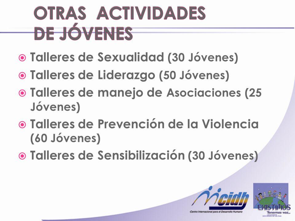 Talleres de Sexualidad (30 Jóvenes) Talleres de Liderazgo (50 Jóvenes) Talleres de manejo de Asociaciones (25 Jóvenes) Talleres de Prevención de la Violencia (60 Jóvenes) Talleres de Sensibilización (30 Jóvenes)