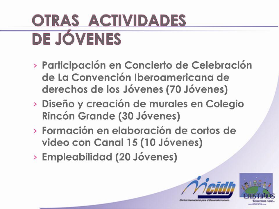 Participación en Concierto de Celebración de La Convención Iberoamericana de derechos de los Jóvenes (70 Jóvenes) Diseño y creación de murales en Colegio Rincón Grande (30 Jóvenes) Formación en elaboración de cortos de video con Canal 15 (10 Jóvenes) Empleabilidad (20 Jóvenes)