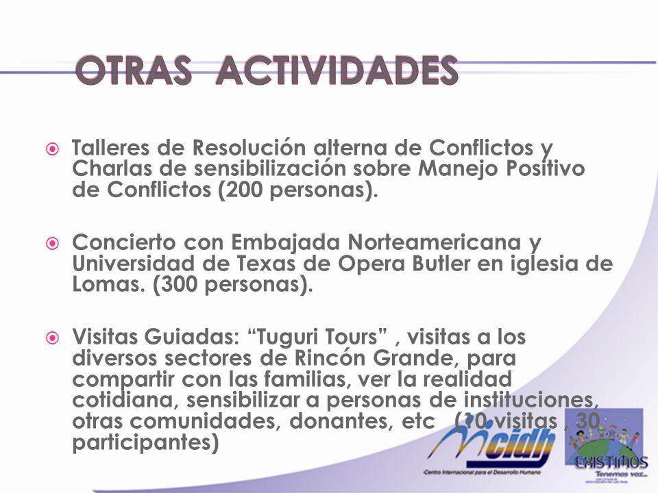 Talleres de Resolución alterna de Conflictos y Charlas de sensibilización sobre Manejo Positivo de Conflictos (200 personas).