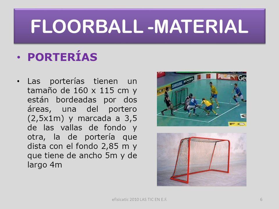 efisicatic 2010 LAS TIC EN E.F.6 FLOORBALL -MATERIAL PORTERÍAS Las porterías tienen un tamaño de 160 x 115 cm y están bordeadas por dos áreas, una del