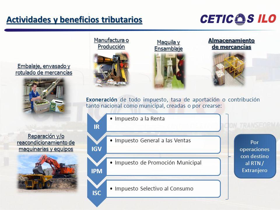 Los derechos e impuestos por la importación de maquinarias y equipos están suspendidos en tanto dichos bienes estén dentro de los CETICOS.
