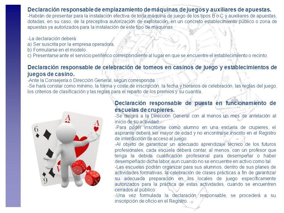 Declaración responsable de emplazamiento de máquinas de juegos y auxiliares de apuestas. -Habrán de presentar para la instalación efectiva de toda máq