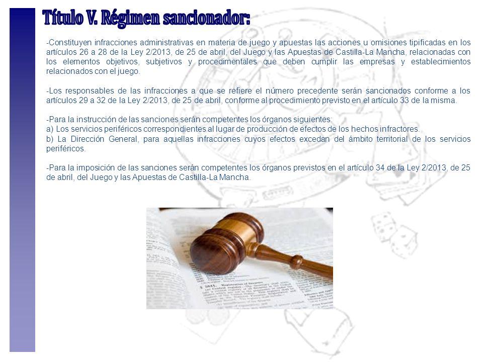 -Constituyen infracciones administrativas en materia de juego y apuestas las acciones u omisiones tipificadas en los artículos 26 a 28 de la Ley 2/201