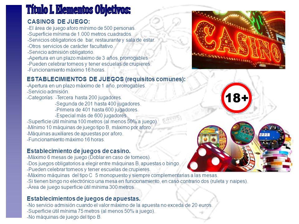 CASINOS DE JUEGO: -El área de juego aforo mínimo de 500 personas. -Superficie mínima de 1.000 metros cuadrados. -Servicios obligatorios de bar, restau