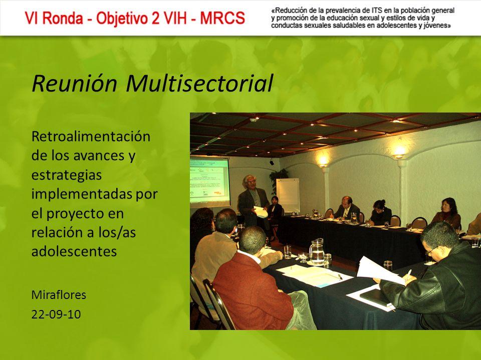 Reunión Multisectorial Retroalimentación de los avances y estrategias implementadas por el proyecto en relación a los/as adolescentes Miraflores 22-09-10