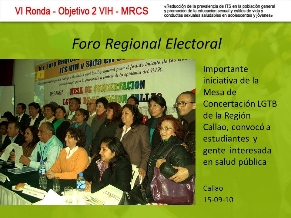 Foro Regional Electoral Importante iniciativa de la Mesa de Concertación LGTB de la Región Callao, convocó a estudiantes y gente interesada en salud pública Callao 15-09-10