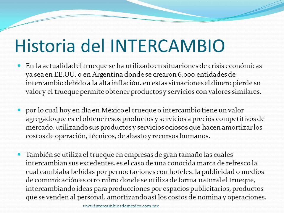 Historia del INTERCAMBIO En la actualidad el trueque se ha utilizado en situaciones de crisis económicas ya sea en EE.UU.