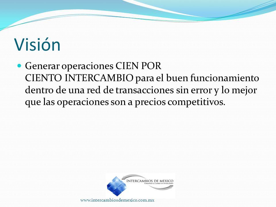 Visión Generar operaciones CIEN POR CIENTO INTERCAMBIO para el buen funcionamiento dentro de una red de transacciones sin error y lo mejor que las operaciones son a precios competitivos.