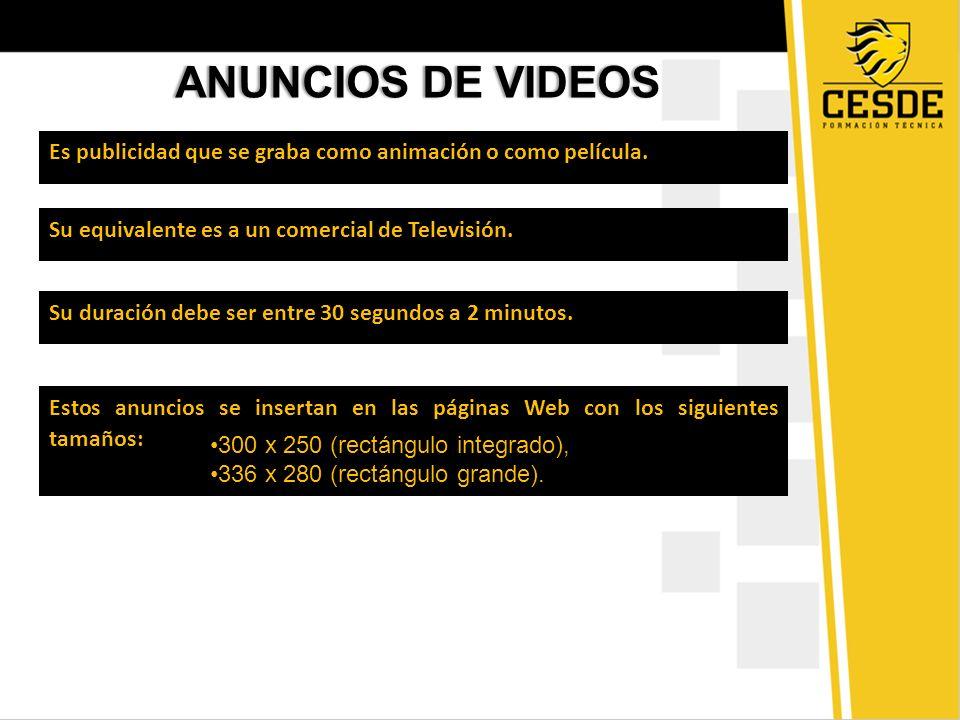 ANUNCIOS DE VIDEOSANUNCIOS DE VIDEOS Es publicidad que se graba como animación o como película. Su equivalente es a un comercial de Televisión. Su dur