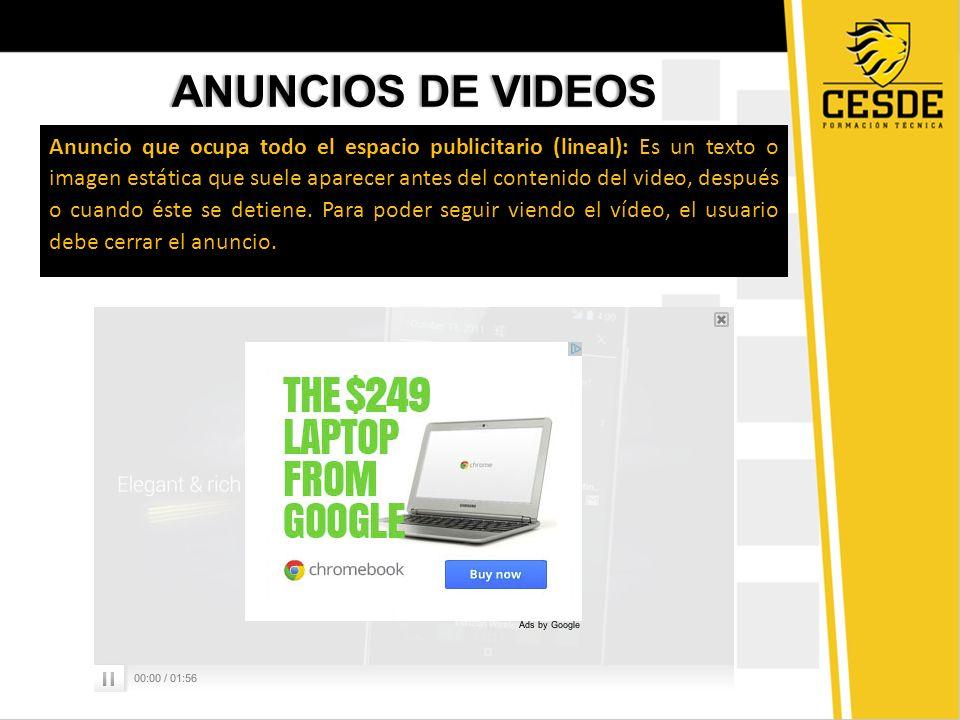 ANUNCIOS DE VIDEOSANUNCIOS DE VIDEOS Anuncio que ocupa todo el espacio publicitario (lineal): Es un texto o imagen estática que suele aparecer antes d