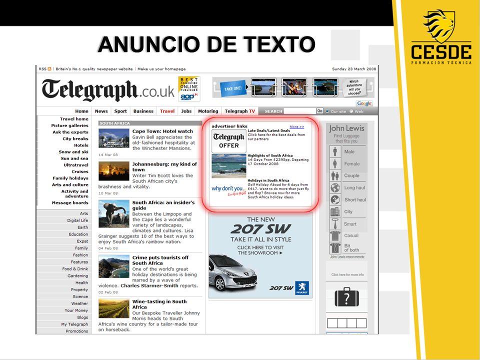 TEXTO PUBLICITARIOTEXTO PUBLICITARIO Se utiliza para promocionar productos o servicios.