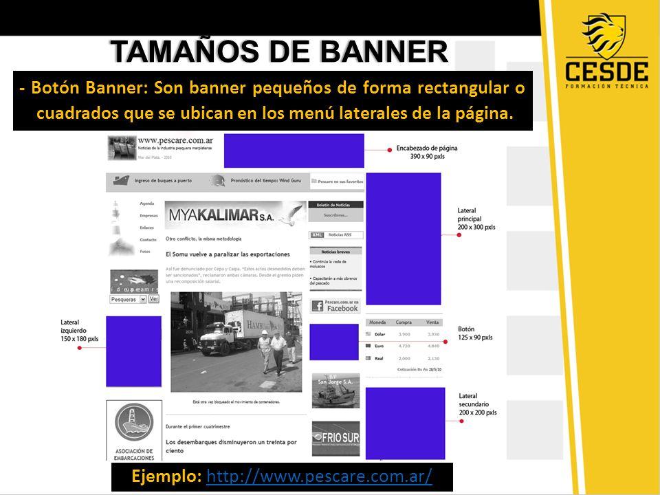 TAMAÑOS DE BANNERTAMAÑOS DE BANNER - Botón Banner: Son banner pequeños de forma rectangular o cuadrados que se ubican en los menú laterales de la pági