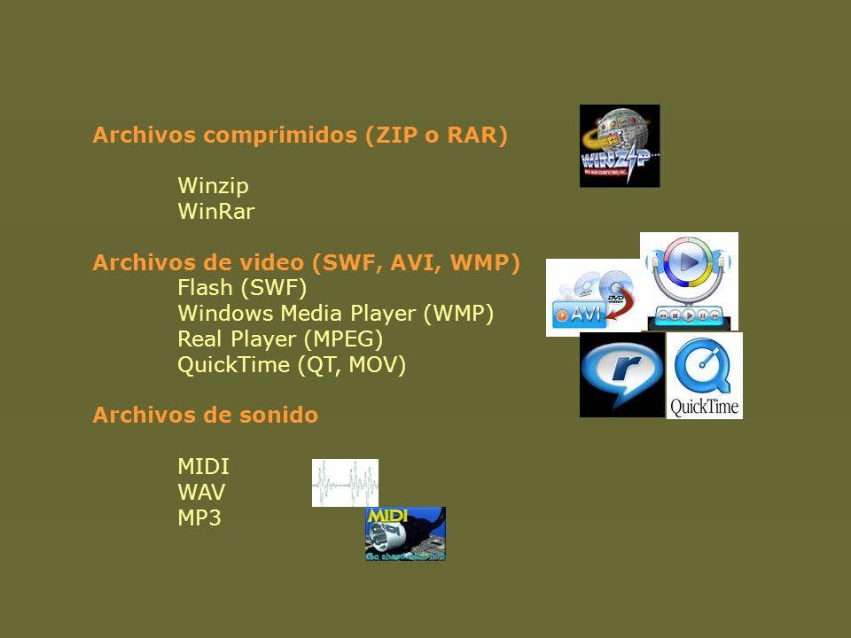 Archivos comprimidos (ZIP o RAR) Winzip WinRar Archivos de video (SWF, AVI, WMP) Flash (SWF) Windows Media Player (WMP) Real Player (MPEG) QuickTime (