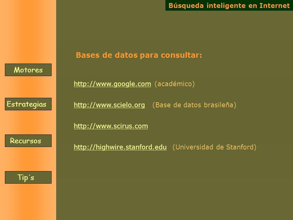 Motores Estrategias Recursos Tip´s http://www.google.comhttp://www.google.com (académico) http://www.scielo.orghttp://www.scielo.org (Base de datos br