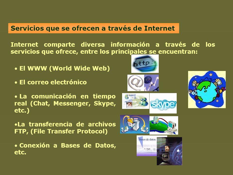 Servicios que se ofrecen a través de Internet Internet comparte diversa información a través de los servicios que ofrece, entre los principales se enc