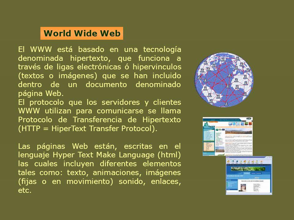 El WWW está basado en una tecnología denominada hipertexto, que funciona a través de ligas electrónicas ó hipervinculos (textos o imágenes) que se han