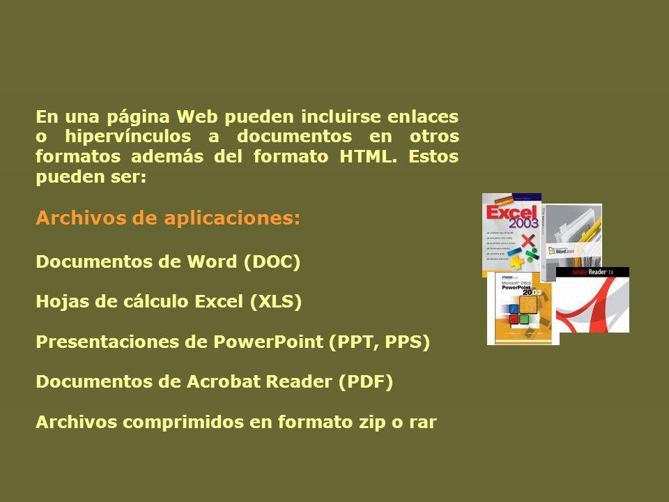 En una página Web pueden incluirse enlaces o hipervínculos a documentos en otros formatos además del formato HTML. Estos pueden ser: Archivos de aplic