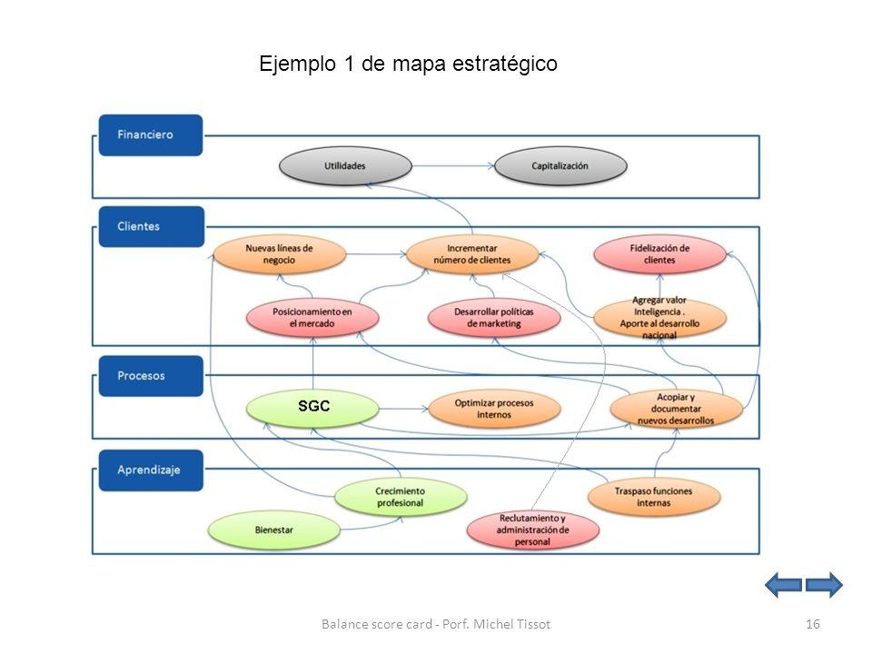 Ejemplo 1 de mapa estratégico 16Balance score card - Porf. Michel Tissot