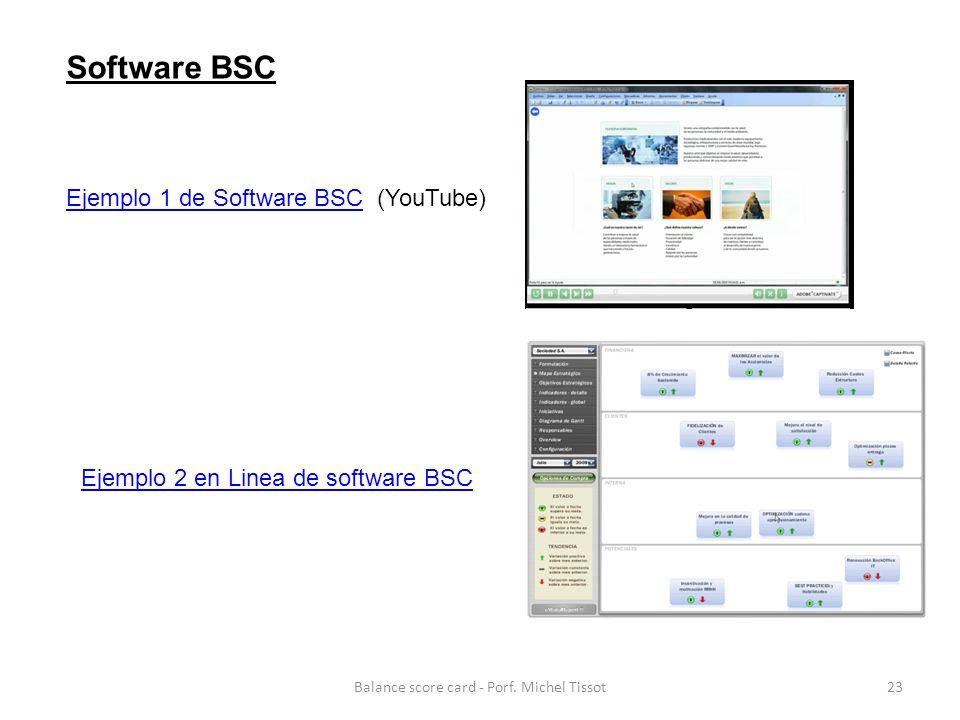 Ejemplo 1 de Software BSCEjemplo 1 de Software BSC (YouTube) Ejemplo 2 en Linea de software BSC Software BSC 23Balance score card - Porf.