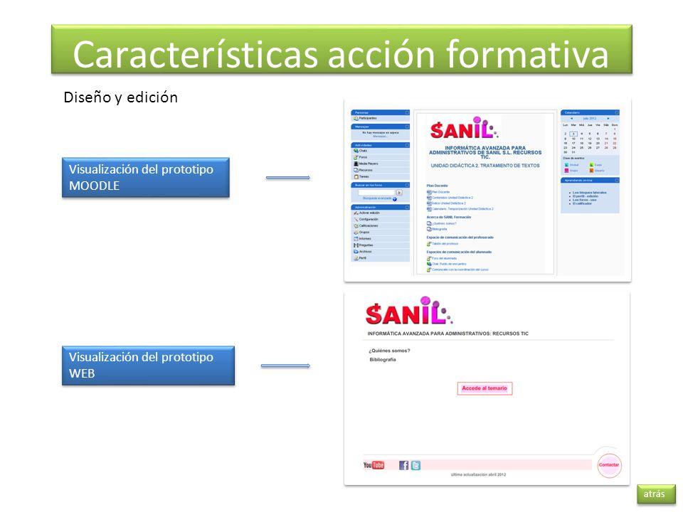 atrás Características acción formativa Visualización del prototipo WEB Visualización del prototipo WEB Visualización del prototipo MOODLE Visualizació