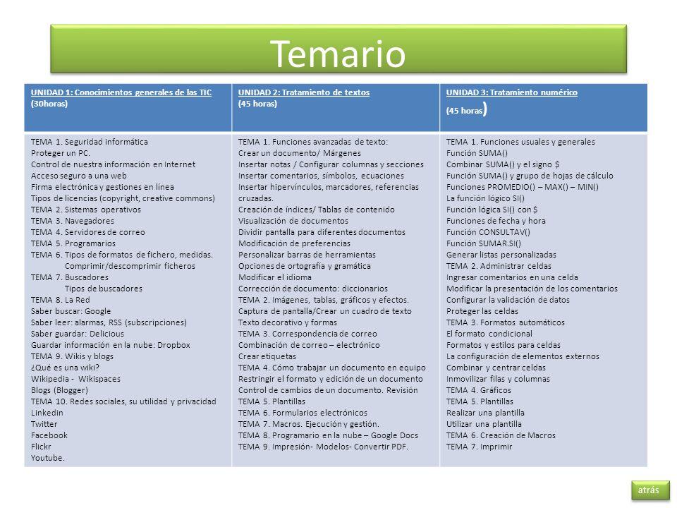 Temario atrás UNIDAD 1: Conocimientos generales de las TIC (30horas) UNIDAD 2: Tratamiento de textos (45 horas) UNIDAD 3: Tratamiento numérico (45 hor