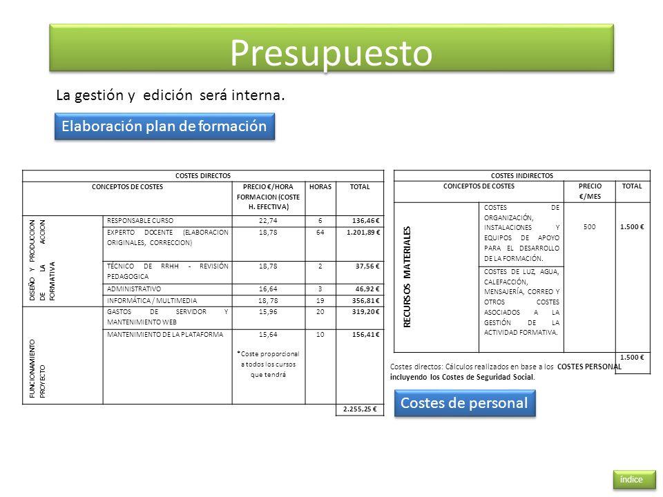 Presupuesto índice La gestión y edición será interna. Elaboración plan de formación Costes de personal COSTES INDIRECTOS CONCEPTOS DE COSTES PRECIO /M