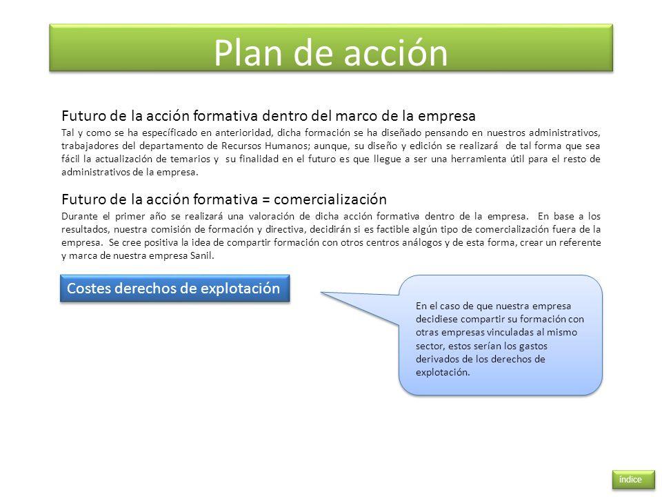 Plan de acción índice Futuro de la acción formativa dentro del marco de la empresa Tal y como se ha específicado en anterioridad, dicha formación se h