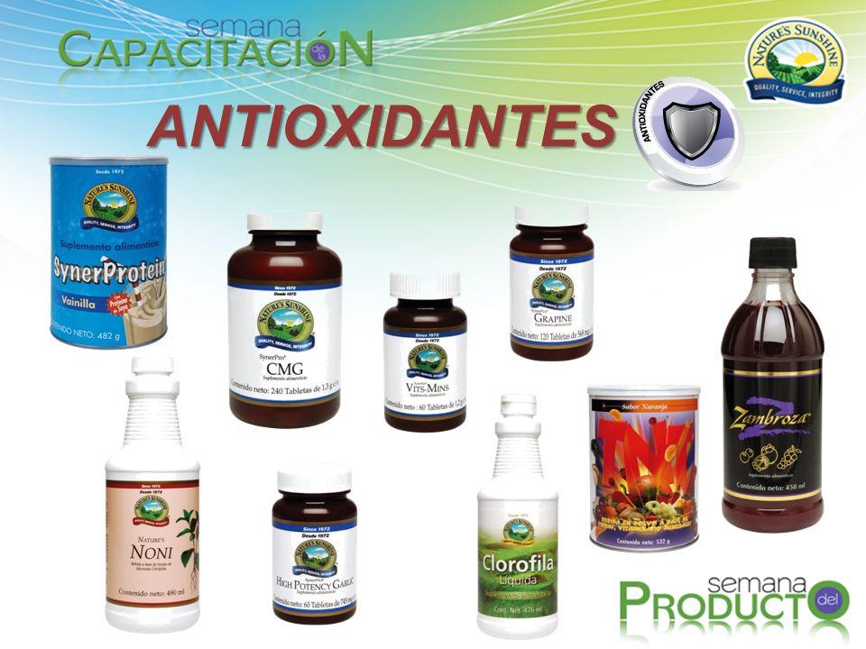 Antioxidantes Contrarrestan los efectos de los radicales libres, causantes del envejecimiento prematuro y de infinidad de enfermedades, entre las que destacan diferentes tipos de cáncer.