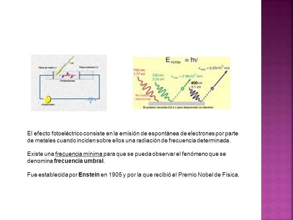 El efecto fotoeléctrico consiste en la emisión de espontánea de electrones por parte de metales cuando inciden sobre ellos una radiación de frecuencia
