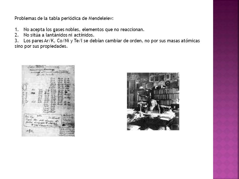 Problemas de la tabla periódica de Mendeleiev: 1.No acepta los gases nobles, elementos que no reaccionan. 2.No sitúa a lantánidos ni actínidos. 3.Los