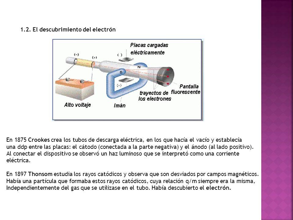 1.2. El descubrimiento del electrón En 1875 Crookes crea los tubos de descarga eléctrica, en los que hacía el vacío y establecía una ddp entre las pla