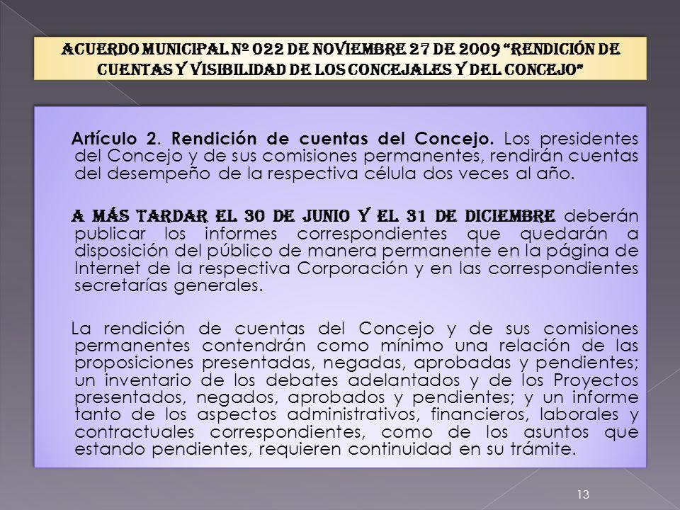 EL CONCEJO En ejercicio de las atribuciones que le confiere la Constitución Política en los numerales 1 y 10 del artículo 313; y en cumplimiento del artículo 32 de la ley 489 de 1998 ACUERDA: CAPÍTULO I RENDICIÓN DE CUENTAS.