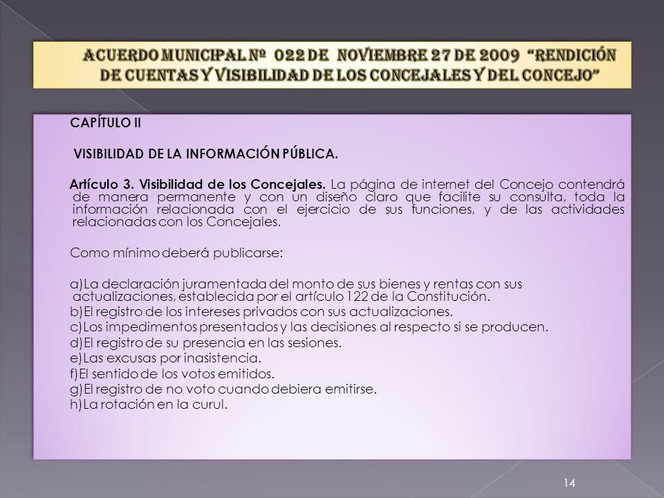 Artículo 2. Rendición de cuentas del Concejo.