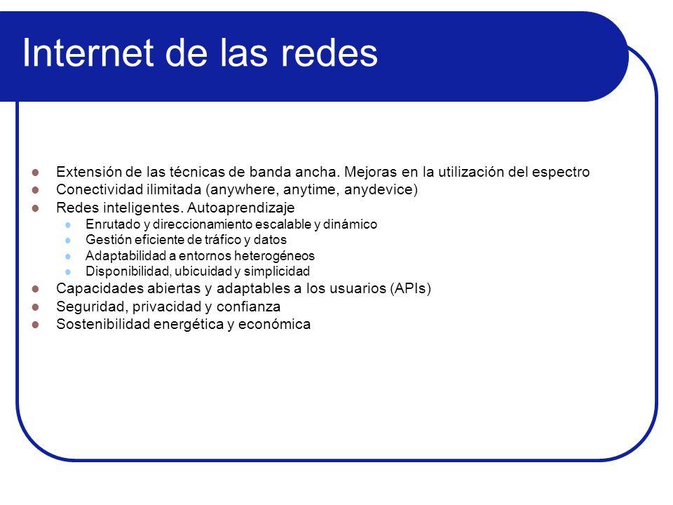 Internet de las redes Extensión de las técnicas de banda ancha. Mejoras en la utilización del espectro Conectividad ilimitada (anywhere, anytime, anyd