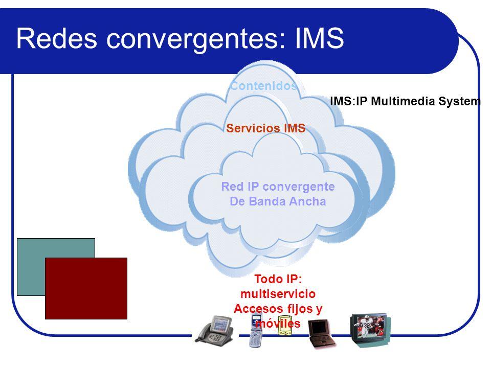 Red IP convergente De Banda Ancha Servicios IMS Contenidos Todo IP: multiservicio Accesos fijos y móviles IMS:IP Multimedia System Redes convergentes: