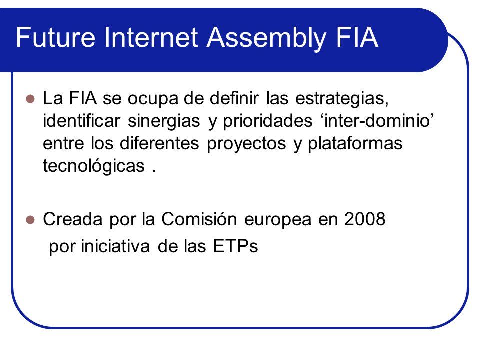 Future Internet Assembly FIA La FIA se ocupa de definir las estrategias, identificar sinergias y prioridades inter-dominio entre los diferentes proyec