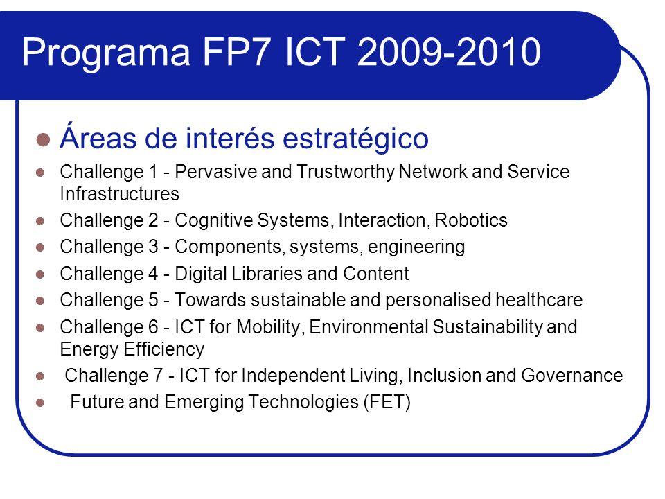 Programa FP7 ICT 2009-2010 Áreas de interés estratégico Challenge 1 - Pervasive and Trustworthy Network and Service Infrastructures Challenge 2 - Cogn