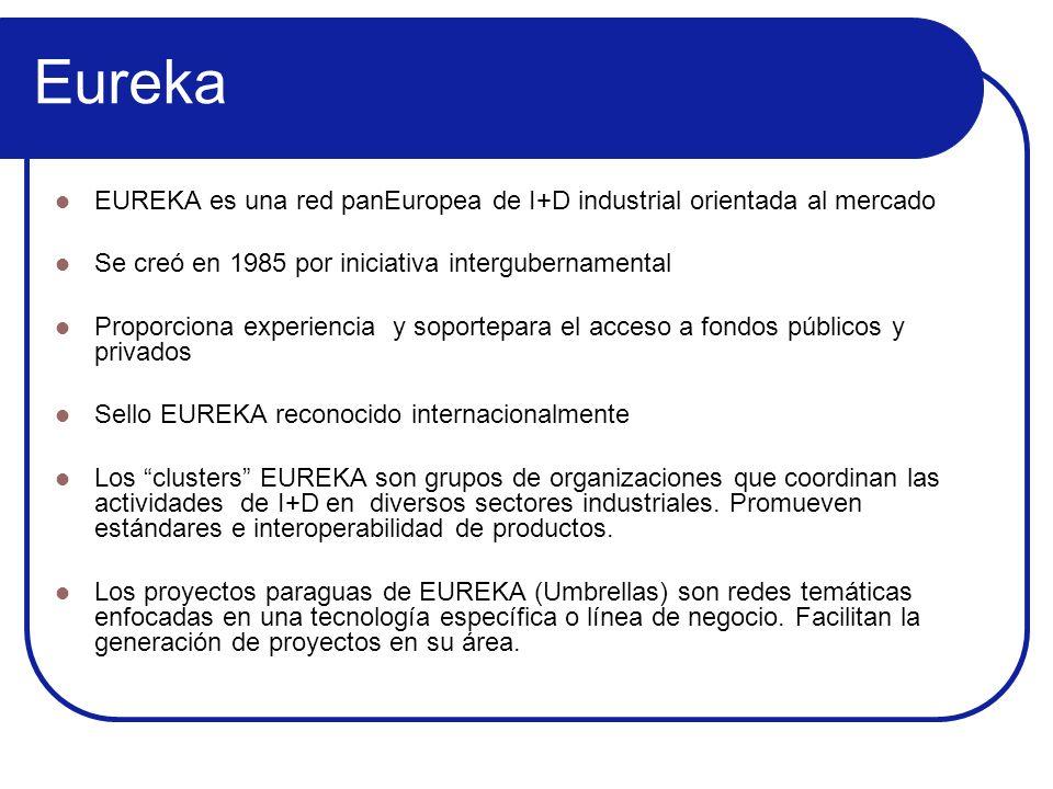 Eureka EUREKA es una red panEuropea de I+D industrial orientada al mercado Se creó en 1985 por iniciativa intergubernamental Proporciona experiencia y