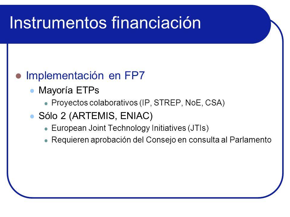 Instrumentos financiación Implementación en FP7 Mayoría ETPs Proyectos colaborativos (IP, STREP, NoE, CSA) Sólo 2 (ARTEMIS, ENIAC) European Joint Tech