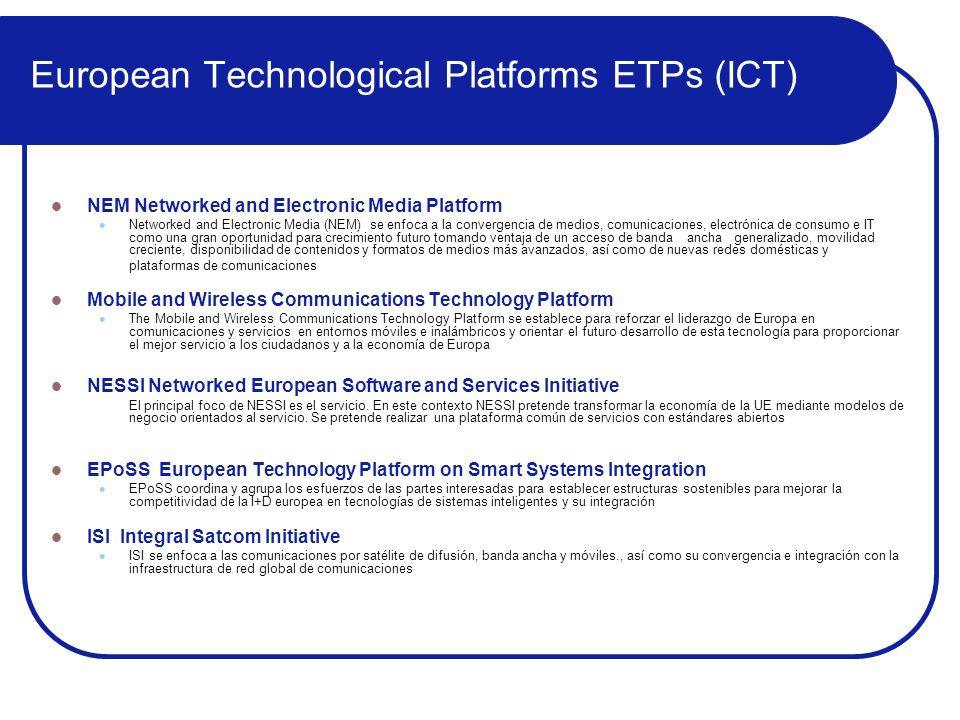 European Technological Platforms ETPs (ICT) NEM Networked and Electronic Media Platform Networked and Electronic Media (NEM) se enfoca a la convergenc